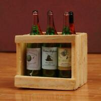 1:12 Doll House Accessories Mini 6 wine bottles with frame Nice wooden N1A4