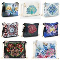 DIY Diamond Painting Peafowl Butterfly Flower Leather Crossbody Chain Bag Wallet