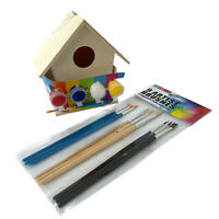 Kids Fun Play Paint Your Own Wood Birdhouse Nesting Box Art Craft Set + Brushes