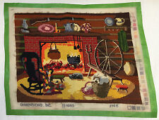 COMPLETED VINTAGE 1980 COZY HEARTH FIREPLACE NEEDLEPOINT CANVAS MARY SMITH #2146