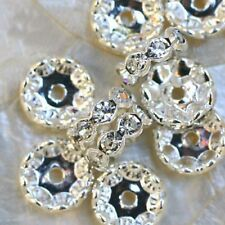 5 Perles Spacers Intercalaires Métal    RONDELLE    8 STRASS AB    4 x 12 mm