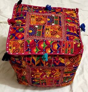 """Handmade Indian Poufs Cover Cotton Footstool Ottoman Patchwork 22X22X22"""" Inches"""