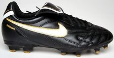Nike Outdoor Soccer Cleats Jr. Tiempo Natural III Black/White/Gold Youth Size 6