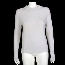 Carolina Herrera Gray Waffle Knit Contrast Cashmere Sweater Womens Medium 513
