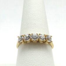 New 14K Gold 5 Stone DQ Diamonique Anniversary Wedding Band Ring Sz 9