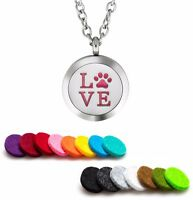 Essential Oil Diffuser Necklace Pendant Stainless Steel Aromatherapy Pet Love