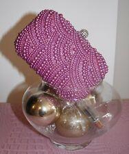 Borsa pochette donna con perle rosa chiusura gioiello