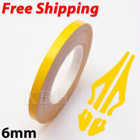 Yellow Self Adhesive Car Pin Stripe Coach Line Tape Styling Stripe 6mm x 10meter