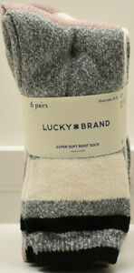 Lucky Brand Women's Super Soft Boot Socks 6 Pairs Assorted New! NWT