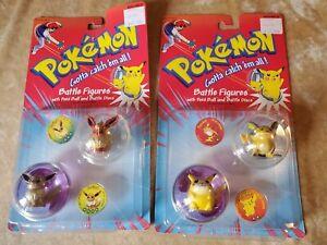 Lot 2 1998 POKÉMON Pikachu/Raichu & Evee/Flareon Battle Figures