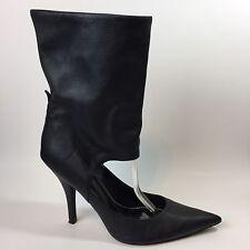 Paolo Linea Women's Pump High Heel Boot Slip On Black Leather Unique Sz 10.5 M