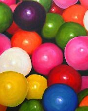 GUM BALLS Candy Signed 8x10 Art PRINT of Original Still Life Oil Painting VERN