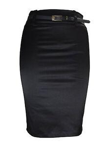 SATIN PENCIL SKIRT FOR WOMEN LADIES PLAIN BLACK STRETCH PLUS SIZE 8 -18 STN