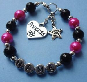 GIRLS PERSONALISED CHARM PEARL BRACELET JEWELLERY GIFT ANY NAME PINK BUTTERFLY