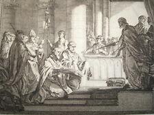 GRAVURE XVIIIe / LE PAPE GRÉGOIRE III IMPLORE LA PROTECTION DE CHARLES MARTEL