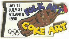 1996 ATLANTA OLYMPIC COCA COLA DAY PIN 13 FOR BOTTLE PUZZLE SET FOLK ART