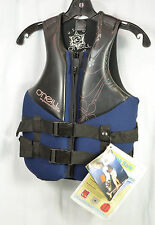 O'Neill THE LAW Womens PFD Wakeboard Water Ski Life Jacket Vest 4 Black Navy NEW