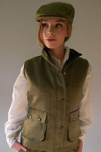 Tweed Waist Coat New Ladies Fitted Green Zip Up With Poppers Quilted