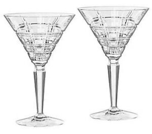 MARQUIS By WATERFORD Set Of 2 CRYSTAL Martini Glasses CROSBY New In Box GERMANY