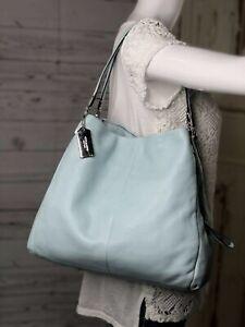 COACH Madison Phoebe Light Blue Leather Silver Hobo Shoulder Handbag 26224 $358