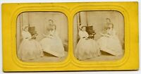 Piano Fashion Ladies reading Hold-to-light Vintage Stereoview Photo hand colored