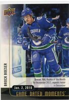 17/18 UPPER DECK GAME DATED MOMENTS #32 ROOKIE MONTH BROCK BOESER CANUCKS *49920