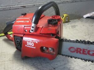"""VINTAGE COLLECTIBLE HOMELITE 360 AUTOMATIC CHAINSAW WITH 20"""" BAR"""