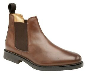 Mens Brown Leather Chelsea Elastic Gusset Padded Boot Roamers Fuller Fit Size 9