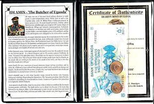 Idi Amin,The Butcher of Uganda Set of 2 coins & 1 banknote, Album & Certificate
