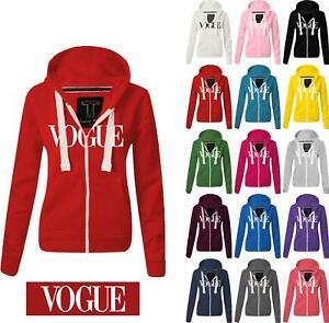 Women Ladies VOGUE Zipped hoodie Sweatshirt Top Jumper Jacket Hoody