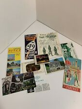 Vintage Travel Ephemera Lot, Postcards, Booklets, Papers, Maps 10 Piece Lot