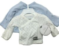 Koala Baby Blue Preemie 2 Pack Long Sleeve Shirts New Free Shipping 100% Cotton