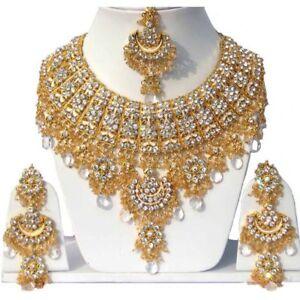 Gold Plated Jodha's Kundan Zerconic Bollywood Necklace Set Jewelry ES3