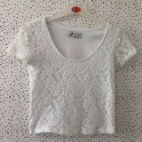 Hollister White Floral Lace Style Crop Top Size S/ M