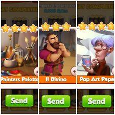 Coin Master II Divino & Painters Palette & Pop Art Papa 3x Cards