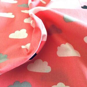 100% Cotton Fabric 1M x 140cm Pink Grey White Black Cloud Print Craft Material