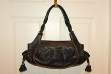 COLE HAAN Tumbled Black Leather Braided Strap Tassel Shoulder Hobo Bag