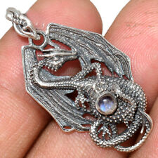 Dragon - Rainbow Moonstone - India 925 Silver Pendant Jewelry Ap220279