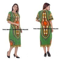 Women Traditional African Print Dashiki Dress Short Sleeve Party Tunic Plus Size