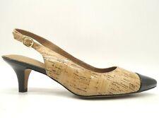 Clarks Artisan Cork Print Black Patent Leather Slingback Heels Shoes Women's 9 M