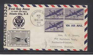UNITED STATES C27 10c TRANSPORT CROSBY FIRST DAY COVER TO GREAT BRITAIN CENSORED
