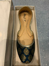 Indian Traditional Mojari Khussa Shoes / Pumps - Blue + Golden Size UK 6