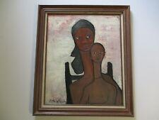 MID CENTURY MODERN BLACK AMERICANA PAINTING PORTRAIT WOMAN FEMALE MONTAGUE 1950
