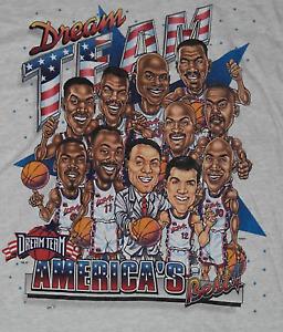 USA DREAM TEAM Olympic Caricature Cotton White Men S-4XL T-Shirt TB162
