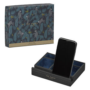 Ted Baker - Black Brogue Valet Tray with Phone Stand in Presentation Gift Box