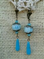 Vintage Victorian Style Earrings Turquoise Glass Lampwork Bead Long Dangle Drop*