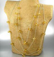 Long Multi Strands Crystal Beaded Chain Fashion Necklace Earrings Women Jewelry