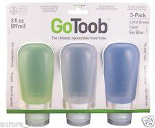 GoToob 3 Pack Large Travel Tube 3 Oz. Clear/Green/Blue BPA Free Go Toob WA40479