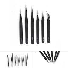 Individual Eyelash Tweezers Curved Straight 6 Pack Black Extensions Tool Set