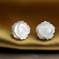 Mother Pearl Shell Black English Rose Flower 925 Sterling Silver Stud Earrings